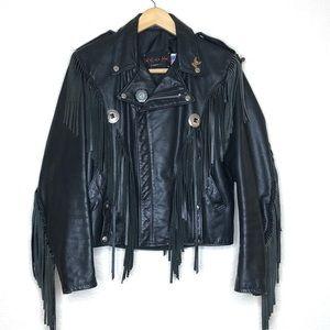 Vintage Dur-o-jac by Schott Leather Jacket Motorcycle Mens Size 36 Fringe